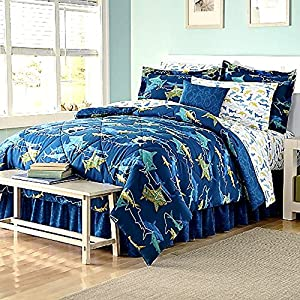 8 Piece SHARKS Full Size Comforter and Sheet Set (Bed in a Bag)