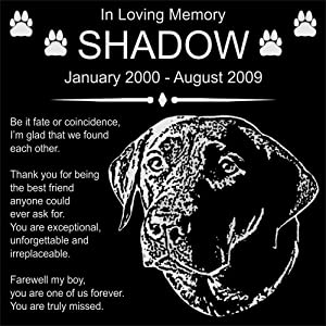 "Personalized Black Labrador Retriever Pet Memorial 12""x12"" Engraved Black Granite Grave Marker Head Stone Plaque SHD1"