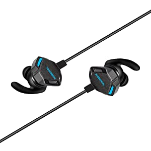 Gaming Earphones with Vibration Function,Xiberia MG-2 in-Ear PS4 Headset Stereo Earbuds Headphones with Detachable Noise Cancelling Dual Mic for iPhone Android Cellphone,Laptop Computer,New Xbox One (Color: Black)