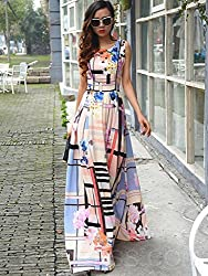 Mahadev Enterprise Plaid Floral Print Sleeveless Maxi Dress ( Semi Stitched )
