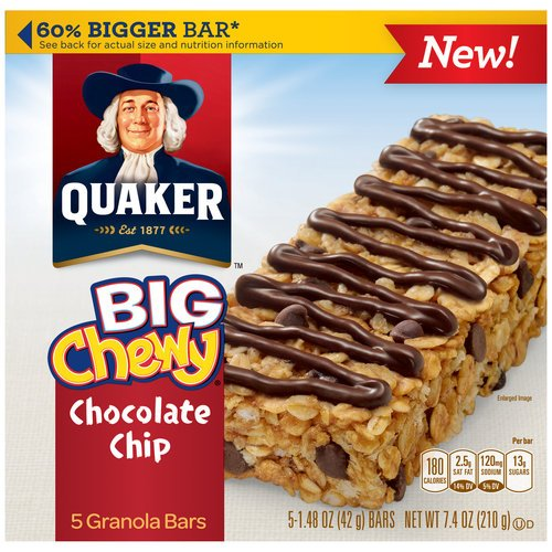 UPC 30000314074 Quaker Big Chewy Chocolate Chip Granola ... Quaker Chewy Granola Bars Barcode