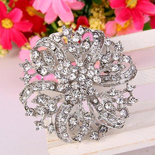 EVER FAITH® Vintage Inspired Bridal Silver-Tone Flower Brooch Corsage Austrian Crystal 2