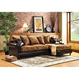 Furniture of America Crobrige 2-Piece Fabric and Leatherette Sectional Sofa - Tan / Espresso