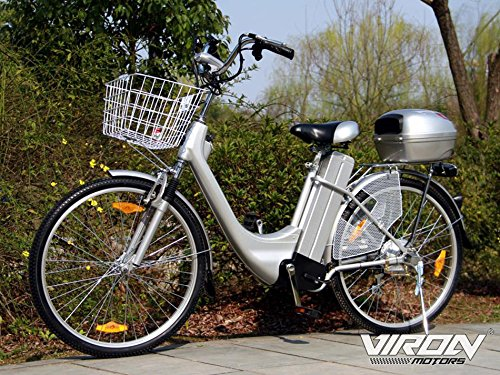 "Elektrofahrrad 250W / 36V E-Bike 26"" Zoll Pedelec Fahrrad mit Motor Citybike (silber)"