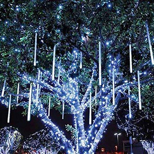 XGUO 50CM 10 Tubi luci di natale pioggia di meteoriti Impermeabile spina di EU luci decorative da esterno, per Festa, Giardino, Natale, Halloween, Matrimonio -