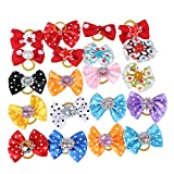 Pet Dog Hair Bows Accessories With Rubber Bands Pack Of 20