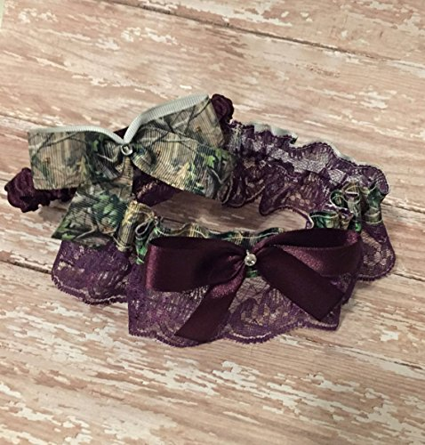 SEXY Realtree Camouflage & Deep Purple Lace Bling Bridal Wedding Garter Rhinestone Camo Garter Or Garter Set
