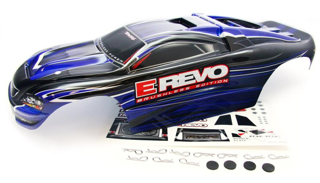 Traxxas 1/10 E-Revo Brushless * BLUE/BLACK BODY & DECALS * ProGraphix 5603 5608
