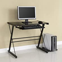 Glass Metal Black Computer Desk