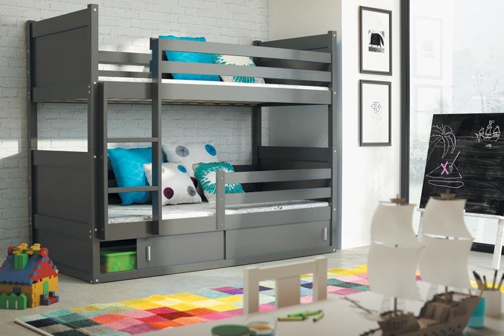 Etagenbett RICO 2 Farbe Graphite 200/90 + inkl. Matratzen + Lattenrost Massivholz Kiefernholz jetzt bestellen