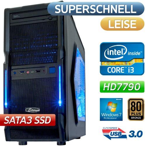 #1| Dark Count| USB 3.0, Win7 Prof, STROM SPAR Office / Multimedia / Gaming PC COMPUTER | BeQuiet 400W 80PLUS Bronze , Intel Core i3 3220 (2x3.3GHz),128GB SATA3 550MB/sec + 1500GB SATA Festplatte, 8GB DDR3 PC1600, Foxconn H77MXV-D Mainboard, AMD Grafik HD7790 mit HDMI/DVI DX11, DVD-Brenner, 5.1 Sound, GigabitLAN