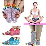VIASA 5Pairs Socks Womens Socks 5-Toe colorful Yoga Gym Socks Non Slip Massage Toe Socks Full Grip Massage Yoga Novelty Socks (5Pairs)