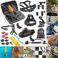 Neewer®21 en 1 Esencial Kit de accesorios Deportivos al aire libre para GoPro HD Hero4 Black/Silver Hero 1 2 3 3+ 4, SJ4000, Incluye: Estuche + telescópica Monopod + Mini trípode + Correa de Cabeza + Cinturón de pecho + correa de muñeca +(4)Adhesivo +(2)superficie adhesiva montaje con adaptador + montaje de ventosa + montaje de manillar de Bici + montaje de 180 grados de rotación + Flotante +(2)montaje de superficie J-gancho + Montaje tornillo trípode con adaptador +(3)Tornillos + llave