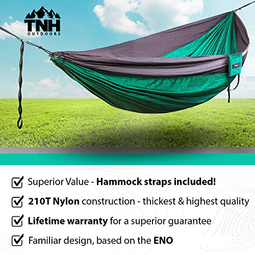 1 Premium Double Camping Hammock By TNH Outdoors Premium Quality ...