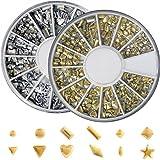 メタルスタッズ12種類 ネイル用 ゴールド&シルバー ラウンドケース入2個/セット