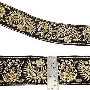 la frontera del cordón indio floral bordado ajuste de la cinta de la tela 6,6 cm por el patio