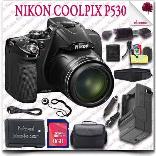 Nikon Coolpix P530 Cmos Digital Camera (Black) + 8Gb Sdhc Card + Hdmi Cable + Slr Gadget Bag + Neoprene Neck Strap 13Pc Nikon Saver Bundle