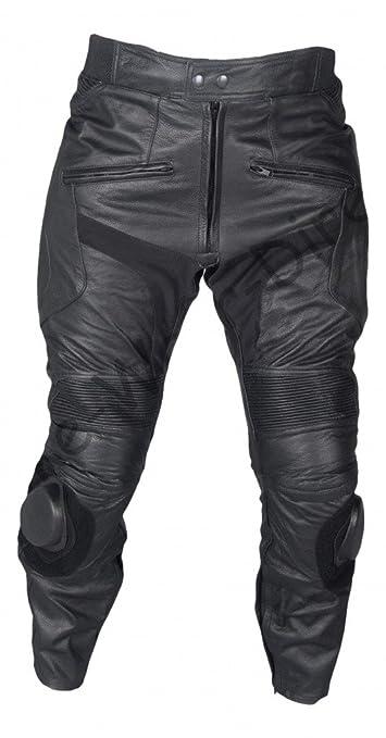 Hommes Noir simple peau de vache Pantalons moto en cuir avec des curseurs