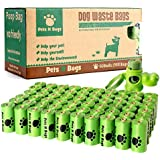 Earth Friendly Pets N Bags Dog Waste Poop Bags, Refill Rolls (60 Rolls / 900 Count, Unscented) Includes Dispenser