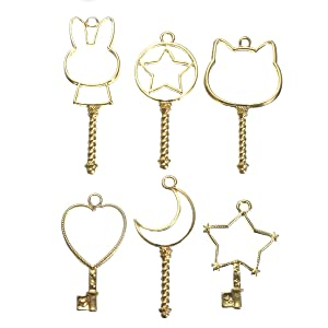 Jeteven Jewelry Frame Charm 6pcs Metal DIY Jewelry Pendant Key Chain Bracelet Necklace Making Finding Kit with Hanging Hole Gold (Color: Gold)