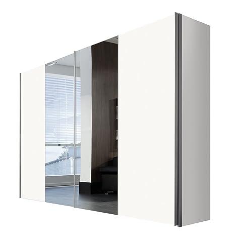 Solutions 04540-070 Schwebeturenschrank 2-turig Korpus und Front Polarweiß, Spiegel,  Griffleisten alufarben, 68 x 300 x 216 cm