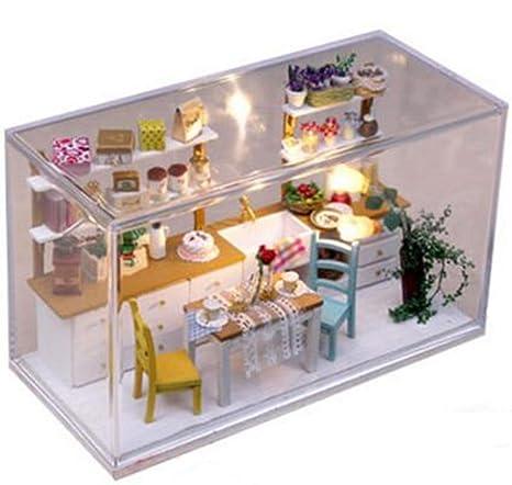 Maison De PoupéesCuisine modèle Doll House Mini maison meubles Kit décoration maison cadeau