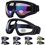 Outgeek Ski Goggles, 2-Pack Skate Glasses with UV 400 Protection Windproof and Dustproof for Snowboard Motorcycle Bicycle (Color: White and Multicolor)
