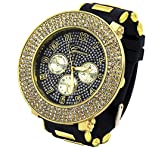 Totally Iced Out Pave Geneva 4line Gold Tone Black face Over Sized Hip Hop Men's Bling Watch Watc...