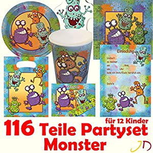 116 teiliges monster party set f r kindergeburtstag mit 12. Black Bedroom Furniture Sets. Home Design Ideas