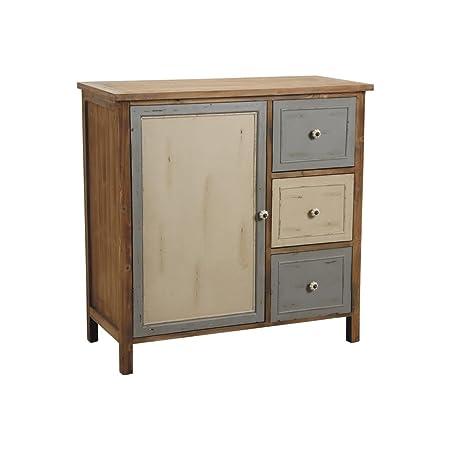 Commode antique 1 porte 3 tiroirs en pin et poignée céramique 100,5x46x100,5cm