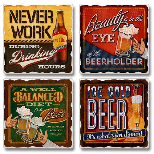 Eye Of The Beerholder - Square Tumbled Stone Coasters