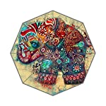 POOKOO!! Vintage Elephant Art Personalized Custom Foldable Rain Umbrella 43.5 inch Wide Good Gift