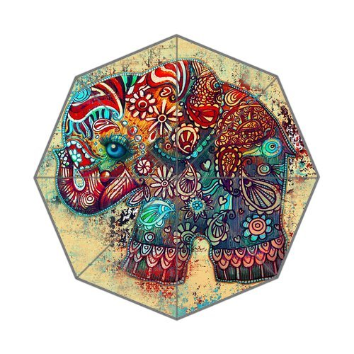 POOKOO!! Vintage Elephant Art Personalized Custom Foldable Rain Umbrella 43.5 inch Wide Good Gift 0