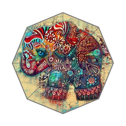 POOKOO!! Vintage Elephant Art Personalized Custom Foldable Rain Umbrella 43.5 inch Wide Good Gift 0