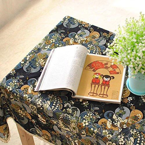 aihometm-japanischen-Stil-Leinen-Tischdecke-Esstisch-Tuch-schmutzabweisend-Leinen-blau-Size-C