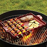 "Emile Henry Made In France Flame BBQ Kabob Grilling Stone and Skewers, 16.5 x 9.8"", Charcoal"