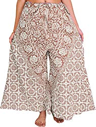 Exotic India Palazzo Pants from Pilkhuwa with Printed Flowers and Elephants - Color Toffee BrownGarment Size Free Size