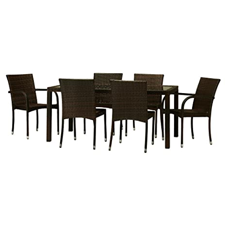 The-Hom Toria 7 Piece Wicker Patio Dining Set