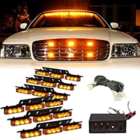 54 LED Emergency Vehicle Strobe Lights Bars Warning Deck Dash Grille Amber