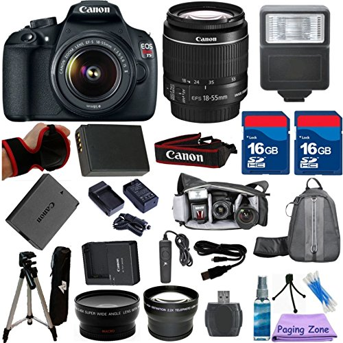 Canon EOS Rebel T5 DSLR CMOS Digital SLR Camera and DIGIC Imaging PagingZone Bundle with EF-S 18-55mm f/3.5-5.6 IS (Image Stabilizer) Lens + .43x Wide Angle Lens + 2x Telephoto Lens + Extra High Capacity Battery + Extra Worldwide Use Charger + Electronic Flash + 6pc PagingZone Starter Kit + Hand Grip Strap + 32GB Memory + 20pc Accessory Kit