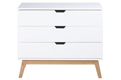 AC Design Furniture H000014403 cómoda Dorte, 77 x 90 x 48 cm, 3 cajones, madera lacada, blanco mate