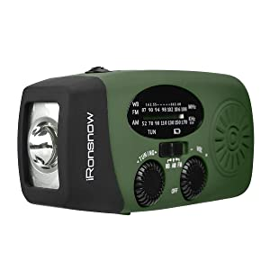 iRonsnow Upgraded Version IS-088U+ Dynamo Solar Hand Crank Self Powered AM/FM/NOAA Weather Radio with LED Flashlight and 1000mAh Emergency Power Bank (Green) (Color: Green)