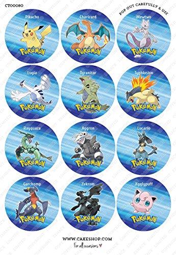 Cakeshop Lot de 12x Papier prédécoupé Pokemon comestibles pour gâteaux-Premium
