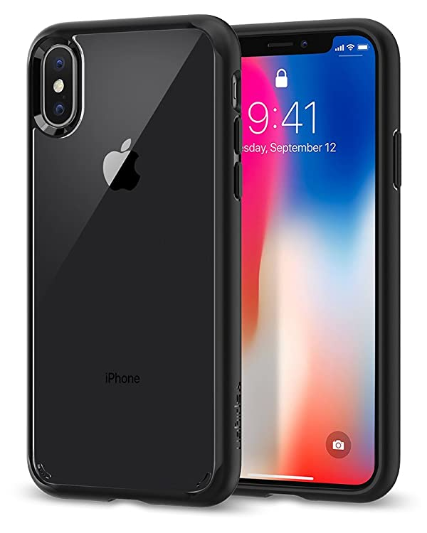 Spigen Ultra Hybrid iPhone X Case with Air Cushion Technology and Hybrid Drop Protection for Apple iPhone X (2017) - Matte Black