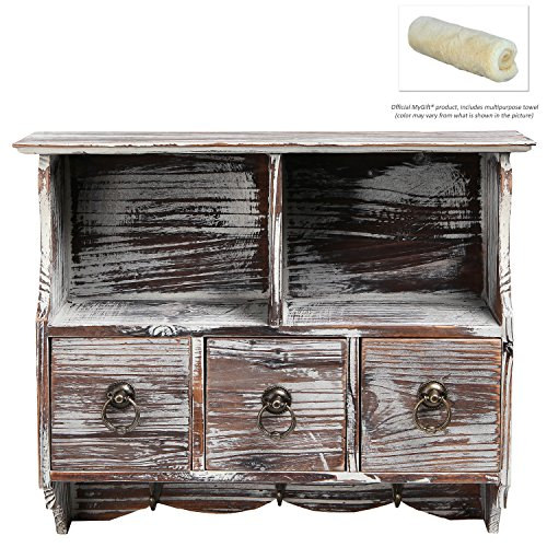 Country Rustic Brown Wood Wall Organizer Shelf Rack / Wall Cabinet w/ Drawers & Metal Hooks - MyGift® 2