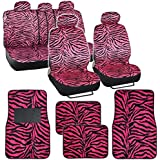 BDK Hot Pink Zebra Seat Covers & Floor Mats Set Fur Print Complete - Full Set, Universal Fit