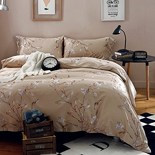 Vintage Botanical Flower Print Bedding 400tc Cotton Sateen Romantic Floral Scarf Duvet Cover 3pc Set Colorful Antique Drawing of Summer Lilies Daisy Blossoms (King, Natural) 0