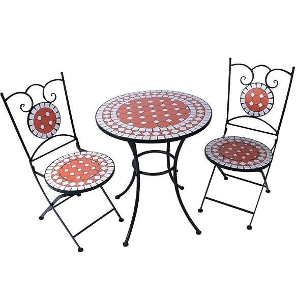 Jago Tavolo con sedie pieghevoli da giardino esterno in acciaio con motivo a mosaico in terracotta