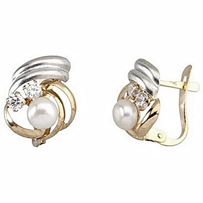 18k gold earrings bicolor cultured pearl button zirconia [7108]
