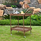 Jeco Outdoor Wicker Patio Furniture Serving Cart